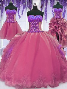 Four Piece Organza Sleeveless Floor Length Quinceanera Gown and Embroidery and Ruffles