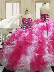 Custom Made Floor Length Pink And White Sweet 16 Quinceanera Dress Organza Sleeveless Beading and Ruffles