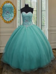 Sleeveless Floor Length Beading Lace Up Sweet 16 Dresses with Turquoise
