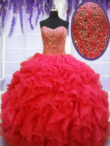Coral Red Ball Gowns Sweetheart Sleeveless Organza Floor Length Lace Up Beading and Ruffles Sweet 16 Dress