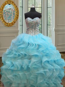 Beauteous Baby Blue Organza Lace Up Sweetheart Sleeveless Floor Length 15 Quinceanera Dress Beading and Ruffles