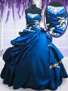 Royal Blue Ball Gowns Appliques and Pick Ups Sweet 16 Quinceanera Dress Lace Up Taffeta Sleeveless Floor Length