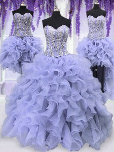 High End Four Piece Lavender Lace Up Sweetheart Ruffles and Sequins Sweet 16 Dresses Organza Sleeveless