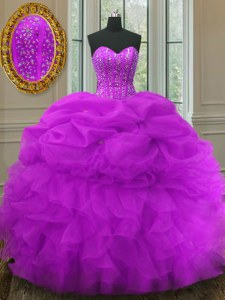 New Style Organza Sleeveless Floor Length Sweet 16 Dresses and Beading and Ruffles and Pick Ups
