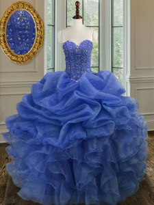 Blue Sleeveless Floor Length Beading and Ruffles Lace Up Quinceanera Dresses