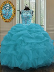 Baby Blue Ball Gowns Organza Scoop Sleeveless Beading and Pick Ups Floor Length Lace Up Ball Gown Prom Dress
