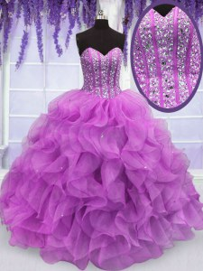 Clearance Organza Sweetheart Sleeveless Lace Up Beading and Ruffles Quinceanera Dress in Lilac