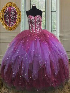 Comfortable Multi-color Ball Gowns Tulle Sweetheart Sleeveless Beading and Ruffles and Sequins Floor Length Lace Up Quince Ball Gowns