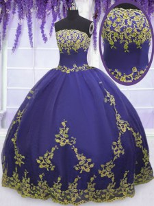 Purple Sweet 16 Quinceanera Dress Military Ball and Sweet 16 and Quinceanera and For with Appliques Strapless Sleeveless Zipper