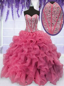 Pink Quinceanera Gown Military Ball and Sweet 16 and Quinceanera and For with Beading and Ruffles Sweetheart Sleeveless Lace Up
