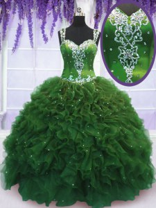 Luxury Straps Green Ball Gowns Beading and Ruffles 15 Quinceanera Dress Zipper Tulle Sleeveless Floor Length