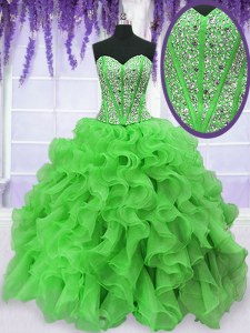 Amazing Ball Gowns Organza Sweetheart Sleeveless Beading and Ruffles Floor Length Lace Up Vestidos de Quinceanera