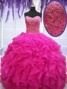 Ball Gowns Quinceanera Dresses Fuchsia Sweetheart Organza Sleeveless Floor Length Lace Up