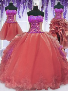 Elegant Four Piece Watermelon Red Quinceanera Dresses Military Ball and Sweet 16 and Quinceanera and For with Embroidery and Ruffles Strapless Sleeveless Lace Up