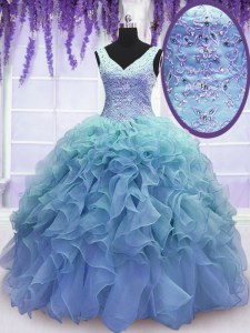 Ideal Blue Quinceanera Dresses Military Ball and Sweet 16 and Quinceanera and For with Beading and Embroidery and Ruffles V-neck Sleeveless Lace Up