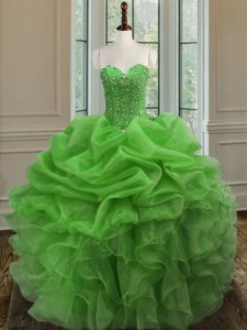 High Quality Sweetheart Sleeveless Organza Quince Ball Gowns Beading and Ruffles Lace Up