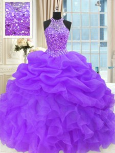 Captivating Purple Ball Gowns Beading and Pick Ups Quinceanera Gown Lace Up Organza Sleeveless Floor Length