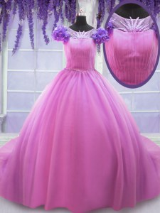 Rose Pink Ball Gowns Tulle Scoop Short Sleeves Hand Made Flower Floor Length Lace Up Quinceanera Dresses