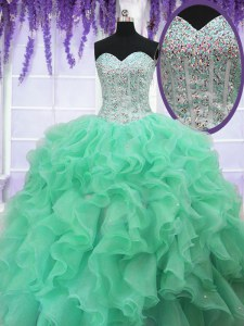 Apple Green Sweetheart Lace Up Ruffles and Sequins 15th Birthday Dress Sleeveless