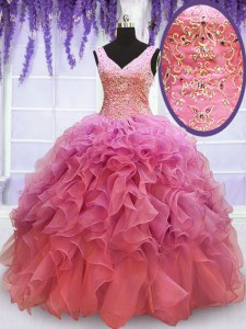 V-neck Sleeveless Sweet 16 Dresses Floor Length Beading and Embroidery and Ruffles Pink Organza