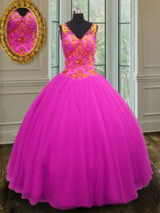 Stylish Floor Length Zipper Sweet 16 Dresses Fuchsia for Military Ball and Sweet 16 with Beading
