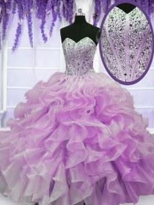 Lilac Ball Gowns Sweetheart Sleeveless Organza Floor Length Zipper Beading and Ruffles 15 Quinceanera Dress