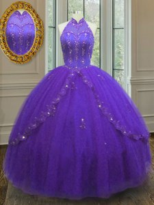 Luxurious Sleeveless Lace Up Floor Length Beading and Appliques Quinceanera Gown