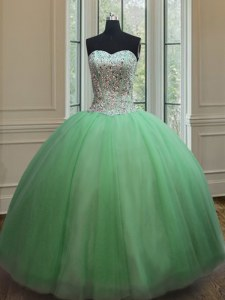 Ball Gowns Beading 15th Birthday Dress Lace Up Tulle Sleeveless Floor Length