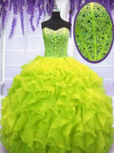 Sexy Yellow Green Ball Gowns Sweetheart Sleeveless Organza Floor Length Lace Up Beading and Ruffles Quinceanera Dresses
