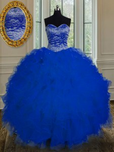Royal Blue Sleeveless Tulle Lace Up Sweet 16 Quinceanera Dress for Military Ball and Sweet 16 and Quinceanera