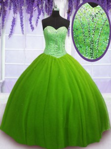 Tulle Lace Up Sweetheart Sleeveless Floor Length 15 Quinceanera Dress Beading