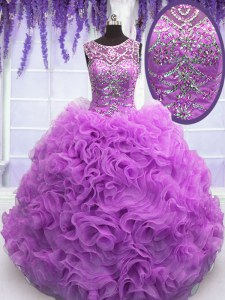 Floor Length Lilac 15th Birthday Dress Scoop Sleeveless Lace Up