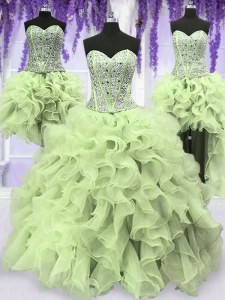Graceful Four Piece Sequins Floor Length Yellow Green Quinceanera Dresses Sweetheart Sleeveless Lace Up