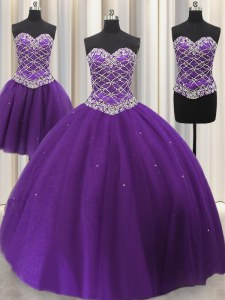 Admirable Three Piece Sequins Eggplant Purple Sleeveless Tulle Lace Up Vestidos de Quinceanera for Military Ball and Sweet 16 and Quinceanera