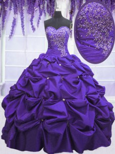 Floor Length Lace Up Ball Gown Prom Dress Purple for Military Ball and Sweet 16 and Quinceanera with Beading and Pick Ups