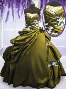 Pick Ups Strapless Sleeveless Lace Up Sweet 16 Quinceanera Dress Olive Green Taffeta
