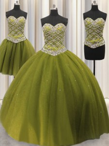 Three Piece Olive Green Tulle Lace Up Quince Ball Gowns Sleeveless Floor Length Beading and Sequins