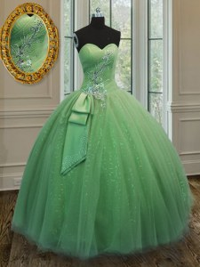 Floor Length Ball Gowns Sleeveless Yellow Green Quince Ball Gowns Lace Up