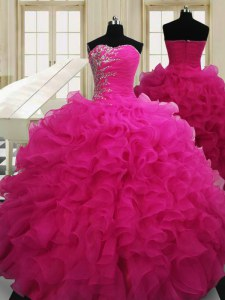 Custom Designed Sweetheart Sleeveless Quinceanera Gowns Floor Length Beading Hot Pink Organza