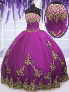 Colorful Floor Length Fuchsia Quinceanera Dresses Strapless Sleeveless Zipper