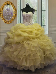 Gold Ball Gowns Beading and Ruffles and Pick Ups Sweet 16 Dress Lace Up Organza Sleeveless Floor Length