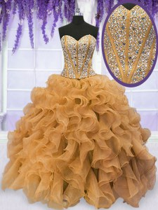 Flare Gold Ball Gowns Sweetheart Sleeveless Organza Floor Length Lace Up Beading and Ruffles Vestidos de Quinceanera