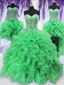 Customized Four Piece Sleeveless Lace Up Floor Length Beading and Ruffles Sweet 16 Dress