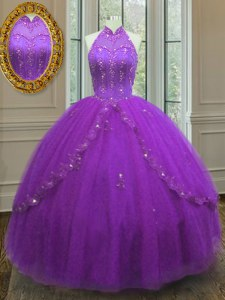 Sleeveless Lace Up Floor Length Beading and Appliques Sweet 16 Dresses
