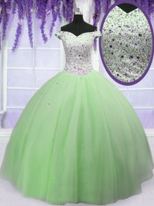 Floor Length Apple Green Sweet 16 Dress Off The Shoulder Short Sleeves Lace Up