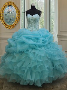 Adorable Baby Blue Sleeveless Beading and Pick Ups Floor Length Quinceanera Gowns