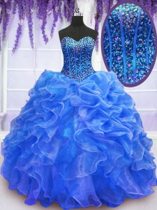 Floor Length Blue Ball Gown Prom Dress Organza Sleeveless Beading and Ruffles