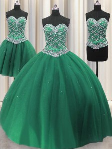 Suitable Three Piece Green Lace Up Ball Gown Prom Dress Beading and Ruffles Sleeveless Floor Length