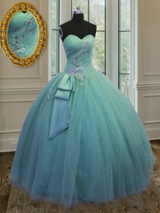 Cheap Ball Gowns Ball Gown Prom Dress Turquoise Sweetheart Tulle Sleeveless Floor Length Lace Up