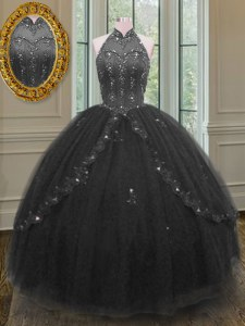 Black Ball Gowns Beading and Appliques Quinceanera Gown Lace Up Tulle Sleeveless Floor Length